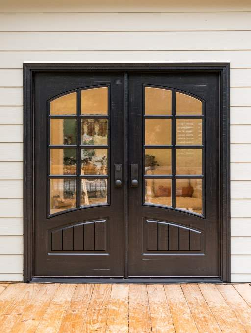Classic French Front Door featuring a Dark Double Rectangular Composite Wood Door with German Antique Glass and Emtek Locksets