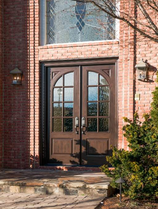 Classic French Front Door featuring a Light Double Rectangular Composite Wood Door with Transom Glacier Glass and Side Lights