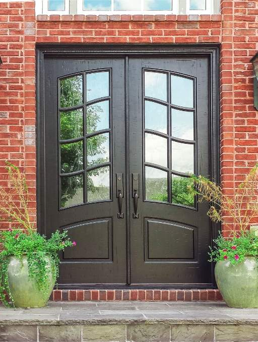 Classic French Door featuring a Dark Double Rectangular Composite Wood Door with Winterlake Glass and Emtek Locksets