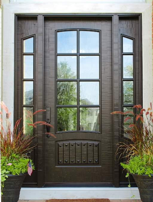 Classic French Front Door featuring a Dark Single Rectangular Composite Wood Door with Winterlake Glass and Side Lights