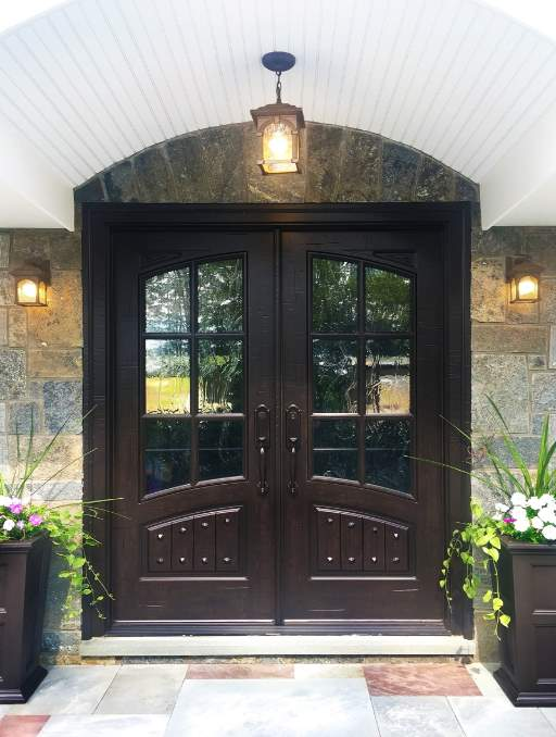 Classic French Front Door featuring a Dark Double Rectangular Composite Wood Door with Winterlake Glass and Emtek Locksets
