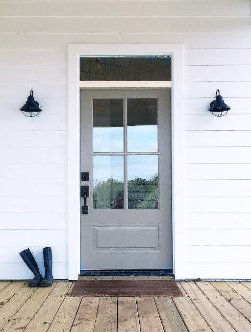 Classic French Door featuring a Grey Single Rectangular Composite Wood Door with Transom Rain Glass and Emtek Locksets