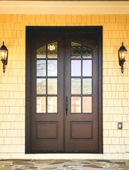 Classic French Door featuring a Dark Double Rectangular Composite Wood Door with Glacier Glass and Yellow House