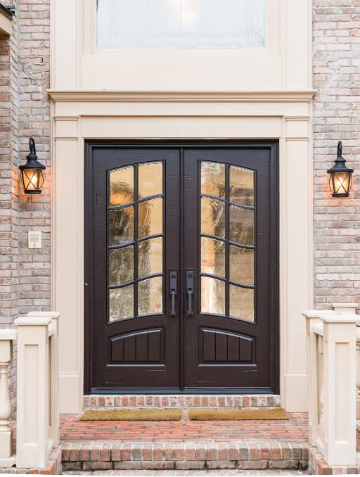 Classic French Front Door featuring a Dark Double Rectangular Composite Wood Door with Transom Winterlake Glass and Side Lights