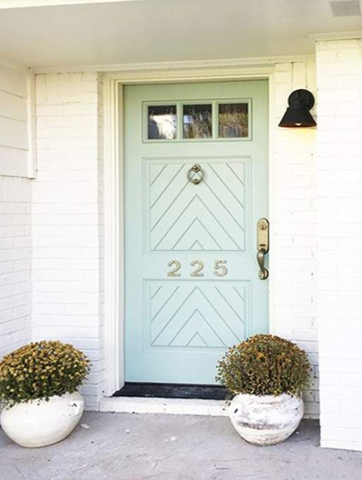 Craftsman Door featuring a Teal Single Rectangular Composite Wood Door with Privacy Glass and Emtek Locksets