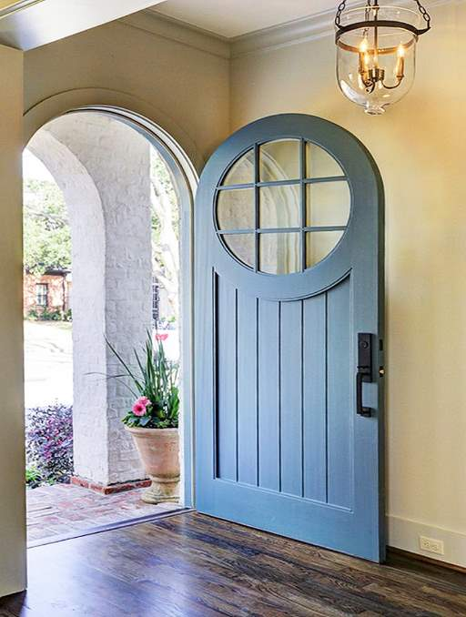 Craftsman Door featuring a Blue Single Rounded Composite Wood Door with Privacy Glass and Emtek Locksets