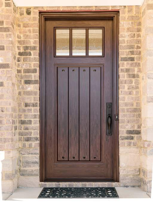 Craftsman Front Door featuring a Bronze Single Rectangular Composite Wood Door with Privacy Glass and Emtek Locksets