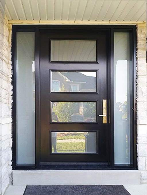 Modern Contemporary Front Door featuring a Black Single Rectangular Composite Iron Wood Door with Privacy Glass Side Lights and Emtek Locksets