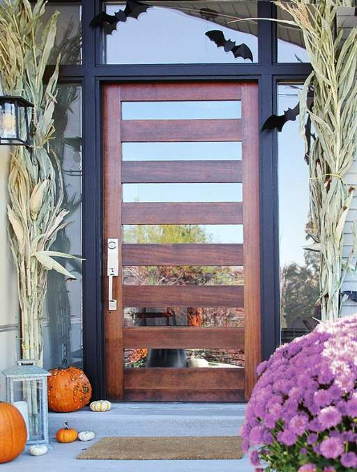 Modern Door featuring a Cherry Single Rectangular Composite Iron Wood Door with Transom Privacy Glass Side Lights and Emtek Locksets