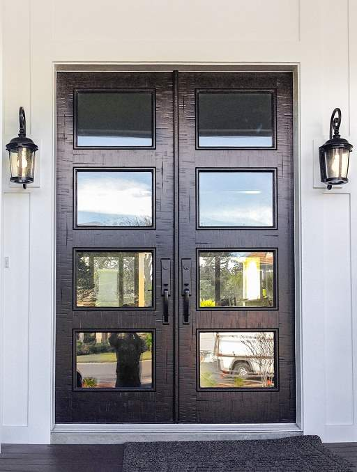 Modern Contemporary Front Door featuring a Dark Double Rectangular Composite Iron Wood Door with Privacy Glass Beach House and Emtek Locksets