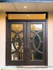 Front-Entry-Door-Modern-Contemporary-5-Transom-Custom-Dark-Double-Rectangular-door-with-German-Antique-glass-and-Concentric-Circles