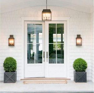 Modern French Door Farmhouse Door featuring a White Double Rectangular Composite Wood Door with Privacy Glass and farmhouse