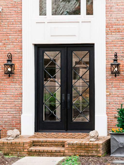 Modern French Door featuring a Dark Double Rectangular Composite Wood Door with Privacy Glass and farmhouse criss cross