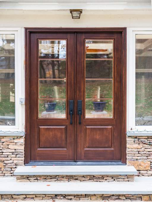 Modern French Door featuring a Dark Double Rectangular Composite Wood Door with German Antique Glass and Side Lights