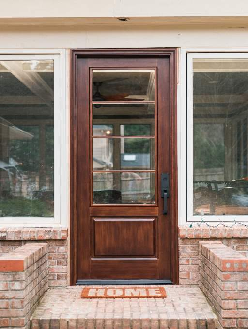 Modern French Door featuring a Dark Single Rectangular Composite Wood Door with German Antique Glass and Side Lights