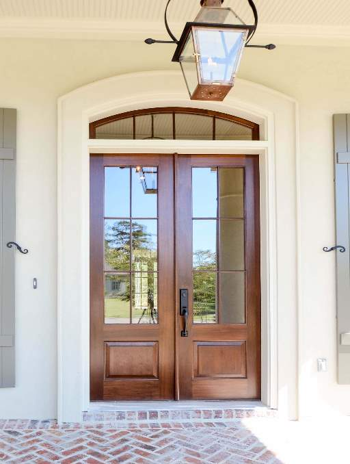 Modern French Door featuring a Bronze Double Rectangular Composite Wood Door with German Antique Glass and farmhouse