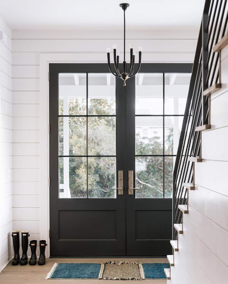 Modern French Door Farmhouse Door featuring a Black Double Rectangular Composite Wood Door with German Antique Glass and Farmhouse