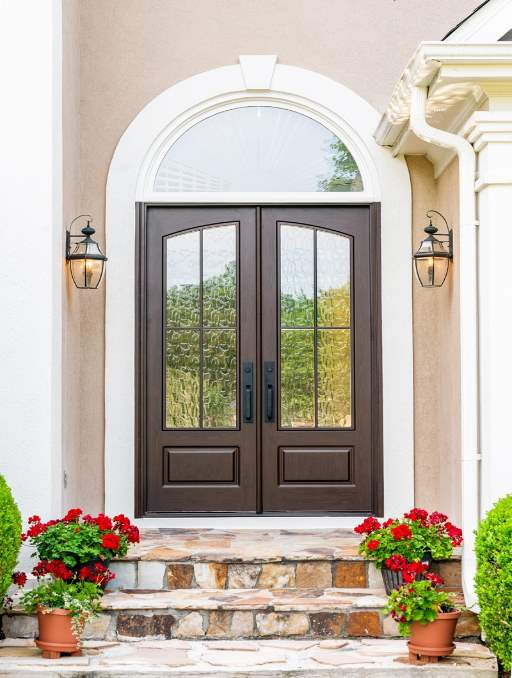 Modern French Door featuring a Dark Double Rectangular Composite Wood Door with Privacy Glass and farmhouse