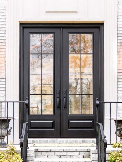 Modern French Door featuring a Black Double Rectangular Composite Wood Door with German Antique Glass and Farmhouse