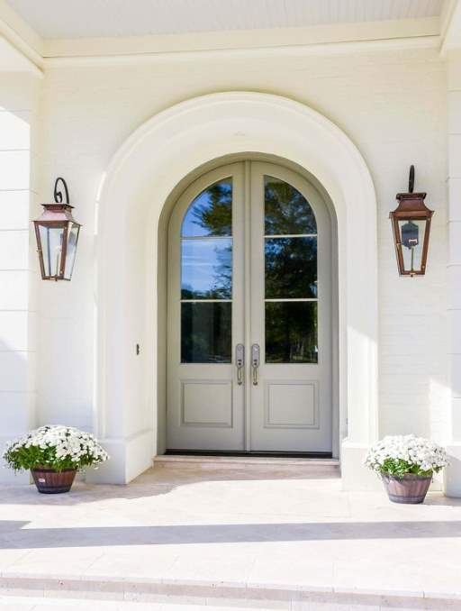 Modern French Door Farmhouse Door featuring a White Double Rounded Composite Wood Door with Privacy Glass and farmhouse