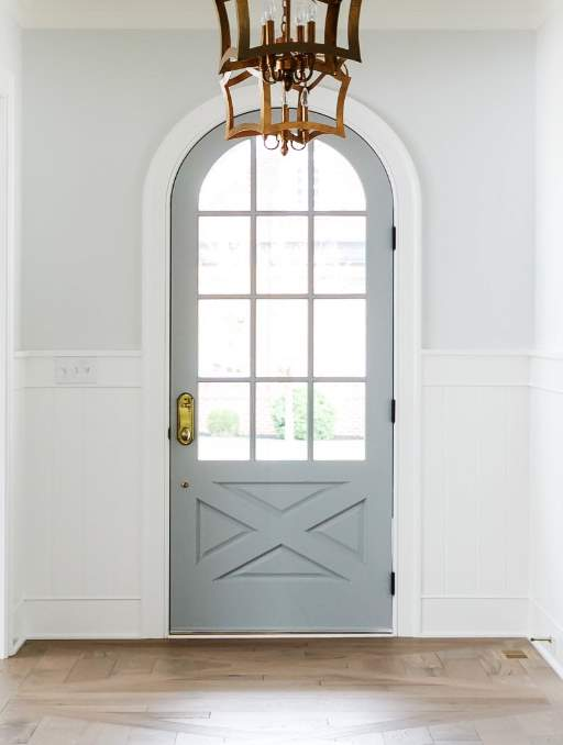 Modern French Door featuring a Light Single Rounded Composite Wood Door with German Antique Glass and farmhouse