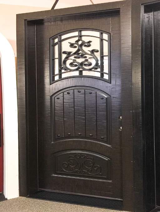 Rustic Front Door featuring a Dark Single Rectangular Composite Iron Wood Door with Privacy Glass Emtek Locksets