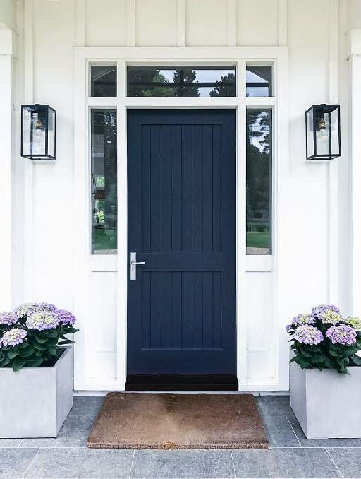 Solid Door featuring a Navy Blue Single Rectangular Composite Wood Door with Transom Privacy Glass Side Lights Farm House and Emtek Locksets