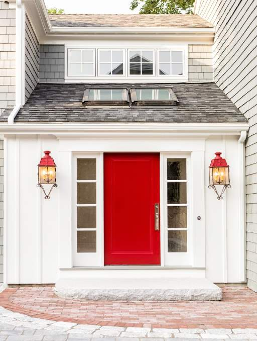 Solid Front Door featuring a Red Single Rectangular Composite Wood Door with Privacy Glass Side Lights and Emtek Locksets