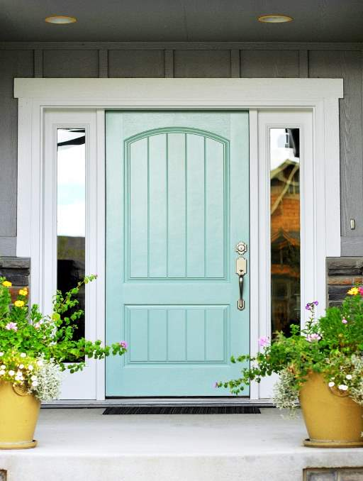 Solid Door featuring a Teal Single Rectangular Composite Wood Door with Privacy Glass Side Lights and Emtek Locksets