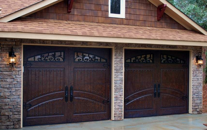 Garage Door Beautiful Custom Rustic Iron Style Dark Double Garage Door With Design Pattern 9