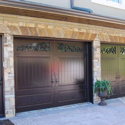 Garage Door Beautiful Custom Rustic Iron Style Dark Garage Door With Design Pattern 1