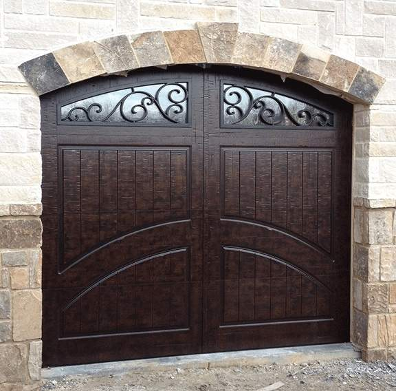 Garage Door Beautiful Custom Rustic Iron Style Dark Single Garage Door With Design Pattern 1
