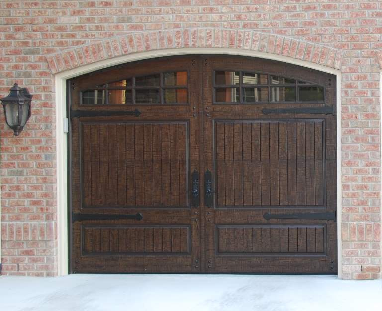 Garage Door Beautiful Custom Rustic Iron Style Dark Single Garage Door With Design Pattern 5