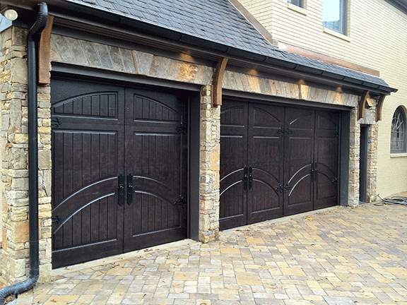 Garage Door Beautiful Custom Rustic Iron Style Dark Tripple Garage Door With Design Pattern 10