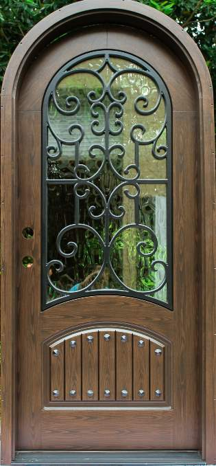 Almaria Front Door featuring a Bronze Single Rounded Composite Iron Wood Door with Glacier Glass Emtek Locksets