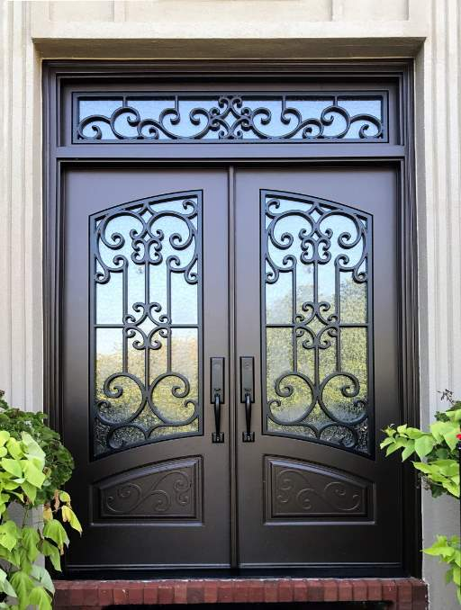Almaria Front Door featuring a Dark Double Rectangular Composite Iron Wood Door with Transom Monumental Glass Emtek Locksets