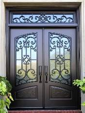 Iron-Style-Front-Entry-Door-Almaria-4-Transom-Custom-Dark-Double-Rectangular-door-with-Monumental-glass-and-Emtek-Locksets