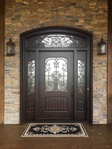 Almaria Front Door featuring a Dark Double Arched Composite Iron Wood Door with Transom Monumental Glass and Side Lights