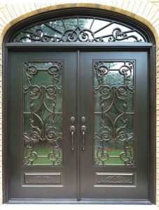 Chateau Front Door featuring a Bronze Double Rectangular Composite Iron Wood Door with Transom Winterlake Glass and Emtek Locksets