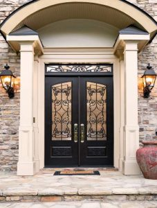 Chateau Front Door featuring a Dark Double Rectangular Composite Iron Wood Door with Monumental Glass and Emtek Locksets 1.jpg 1.jpg