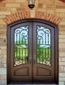Corinthian Front Door featuring a Bronze Double Arched Composite Iron Wood Door with Winterlake Glass and Emtek Locksets 1.jpg 1.jpg