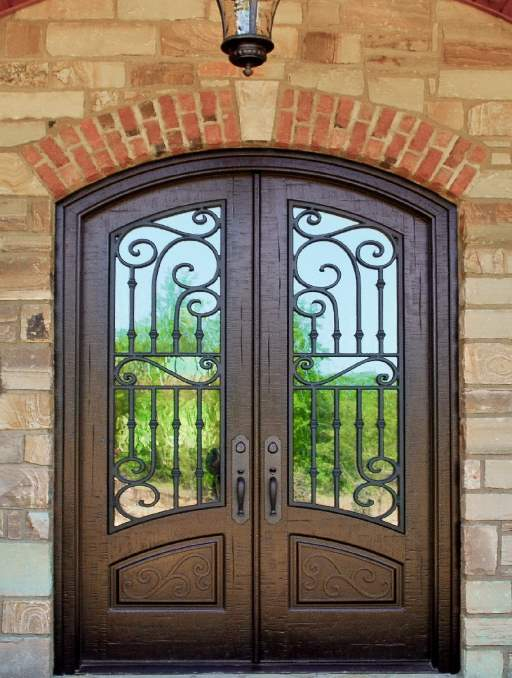 Corinthian Front Door featuring a Bronze Double Arched Composite Iron Wood Door with Winterlake Glass and Emtek Locksets 1.jpg 1.jpg