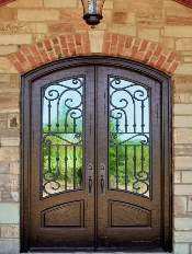 Iron-Style-Front-Entry-Door-Corinthian-1-Beautiful-Custom-Bronze-Double-Arched-door-with-Winterlake-glass-and-Emtek-Locksets