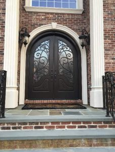 Iron Style Front Entry Door Montelucci 3 Beautiful Custom Dark Double Rounded door with Privacy Glass and Swirl Pattern
