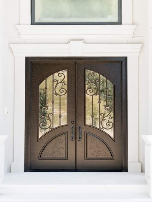 Orleans Front Door featuring a Bronze Double Rectangular Composite Iron Wood Door with Winterlake Glass and Emtek Locksets