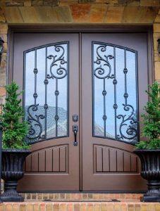 Orleans Front Door featuring a Bronze Double Rectangular Composite Iron Wood Door with Winterlake Glass and Emtek Locksets