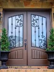 Iron Style-Front-Entry-Door-Orleans-14-Beautiful-Custom-Bronze-Double-Rectangular-door-with-Winterlake-glass-and-Emtek-Locksets