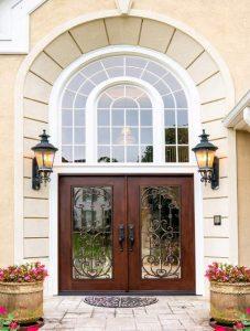 Paris Front Door featuring a Cherry Double Rectangular Composite Iron Wood Door with Transom Winterlake Glass and Emtek Locksets