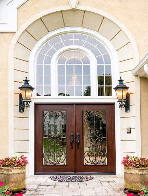 Paris Front Door featuring a Cherry Double Rectangular Composite Iron Wood Door with Transom Winterlake Glass and Emtek Locksets