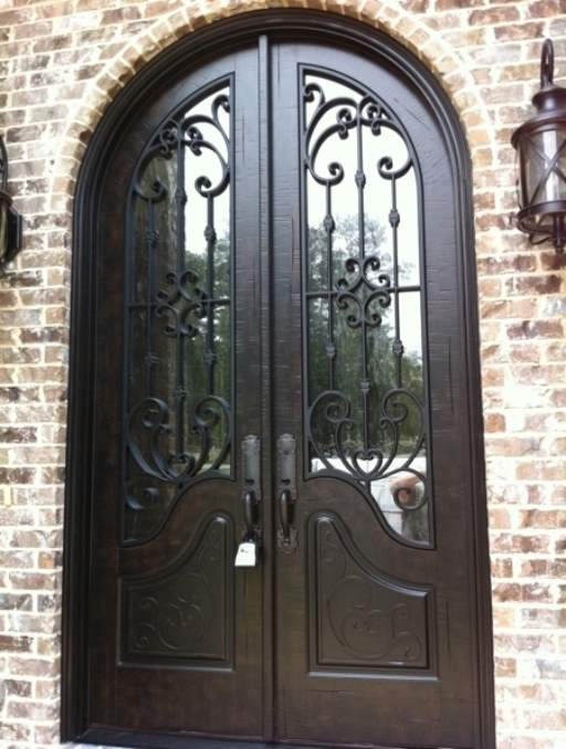 Paris Front Door featuring a Dark Double Rounded Composite Iron Wood Door with Privacy Glass and Emtek Locksets